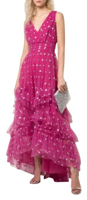 Item - Pink Sequin Dot Tulle Ruffle Maxi Long Formal Dress Size 6 (S)