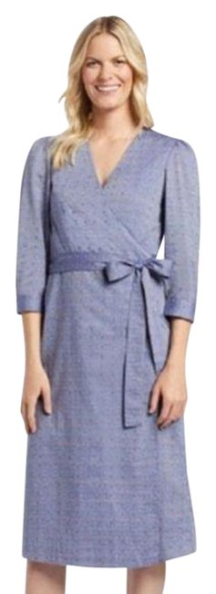 Item - Blue Embroidered Dot Chambray Wrap Mid-length Casual Maxi Dress Size 6 (S)