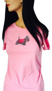Hue Scottish Terrier T Shirt Pink with Pink & Gray Sequins