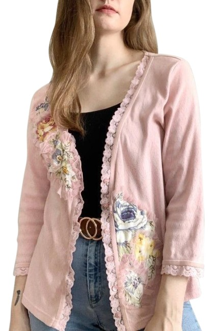 Item - Pink Vintage Sweater with Floral Patches and Ruffles Cardigan Size 8 (M)