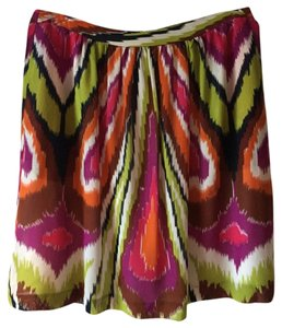 Trina Turk Ikat Flowy Summer Short Mini Skirt Multi