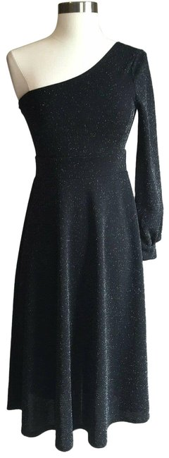 Item - Black XS Women's One Sleeve Fit and Flare Mid-length Cocktail Dress Size 2 (XS)