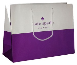 Kate Spade Kate Spade New Shopping/gift Paper Bag; Size 16 X 12 X 6 White/Purple