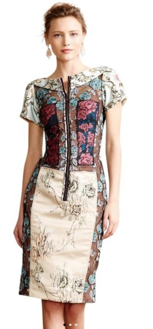 Item - Multicolor Anthropologie Pieced Brocade 23277539 Mid-length Cocktail Dress Size 0 (XS)