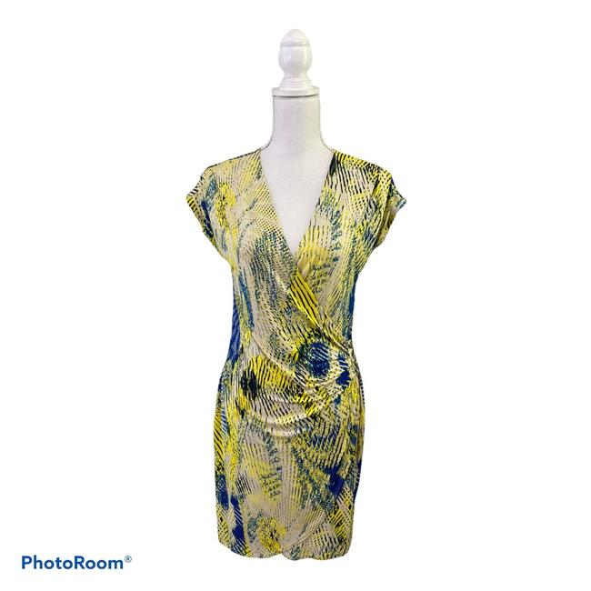 Item - Blue and Yellow Faux Wrap Short Night Out Dress Size 8 (M)