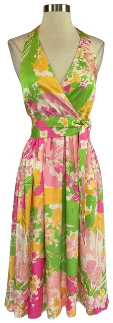 Item - Pink Women's Floral Print Fit & Flare Cocktail Dress Size 4 (S)