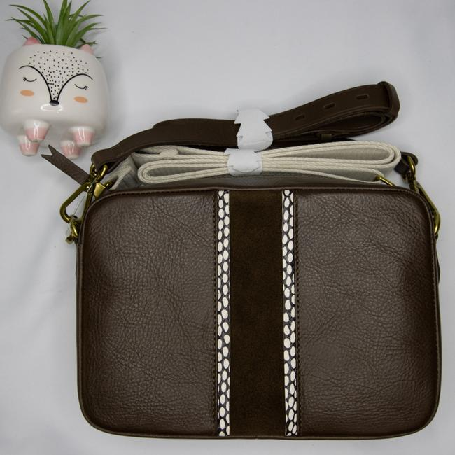 Item - Camera Suede Inset Large Transport Brown White Leather Cross Body Bag