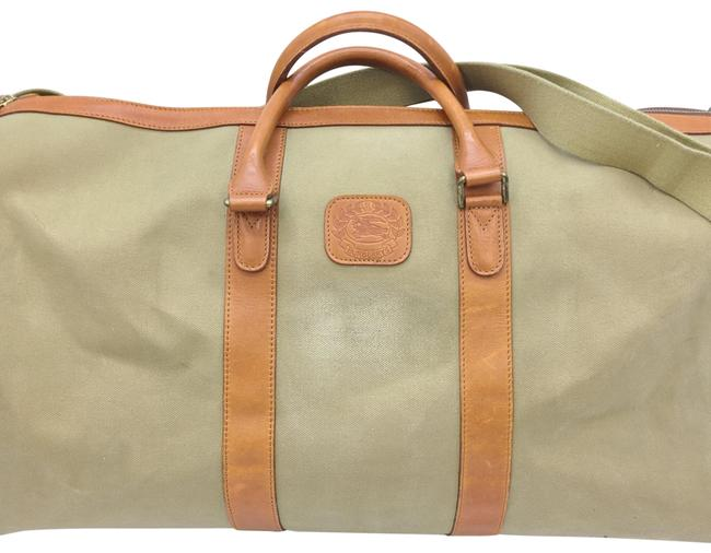 Item - Leather Light Green Canvas Weekend/Travel Bag