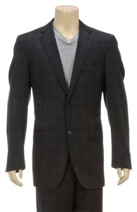 Canali Canali Dark Gray Two Button Wool Men's Suit (Size 56L)