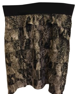 Alfani Skirt Black/beige/white Snakeskin Pattern