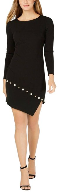 Item - Black Jersey Petite Pearl Trim Cocktail Party Night Out Dress Size 10 (M)
