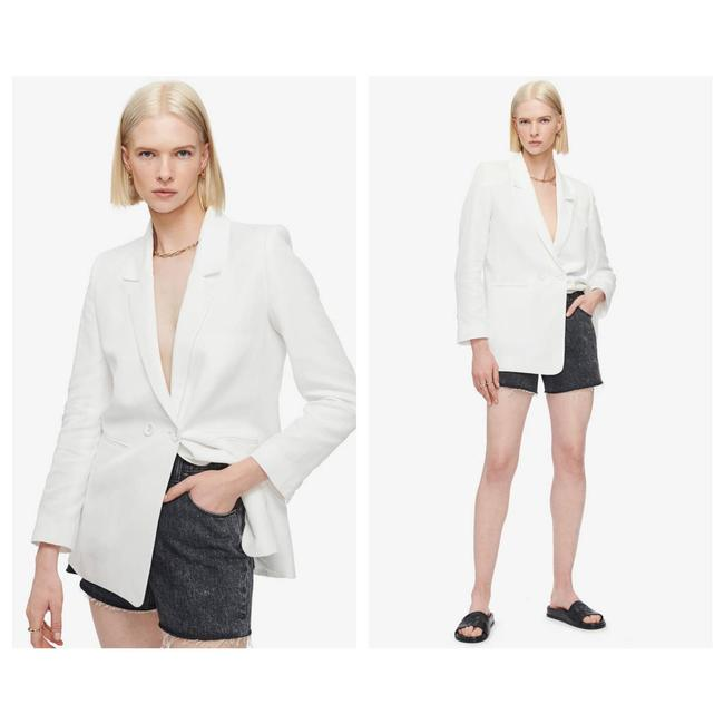 Item - Ivory L Madeline Cotton & Linen Double Breasted Blazer Size 12 (L)
