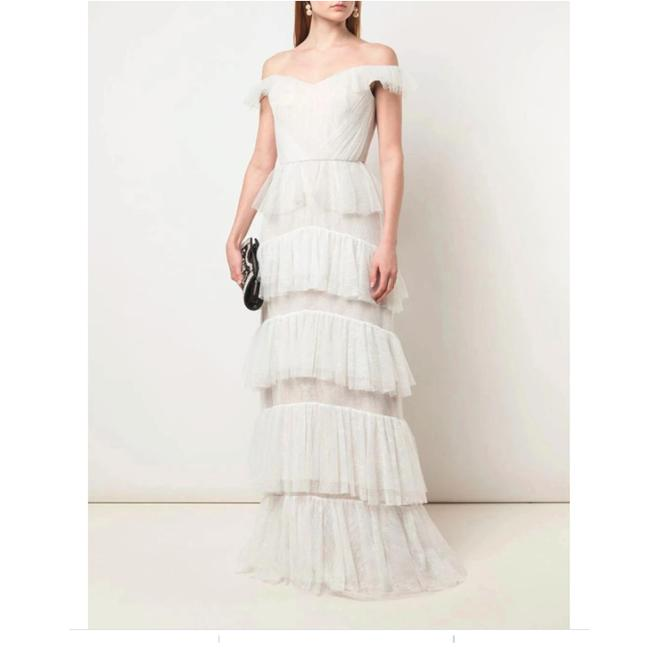 Item - Ivory Off-the-shoulder Lace Tiered Gown Long Cocktail Dress Size 2 (XS)