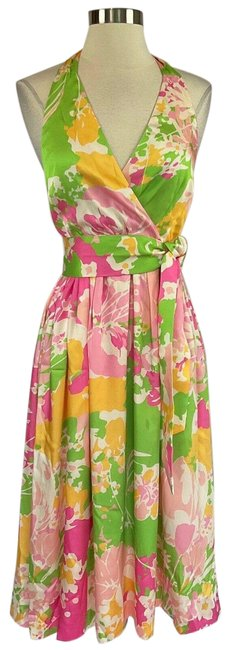 Item - Pink Women's Floral Fit and Flare Cocktail Dress Size 0 (XS)