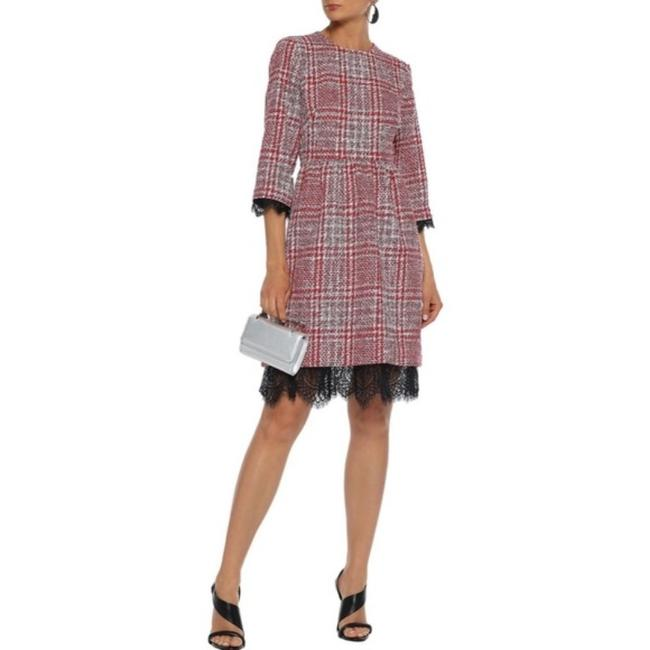 Item - Red Black Lace-trimmed Checked Tweed Mid-length Cocktail Dress Size 4 (S)