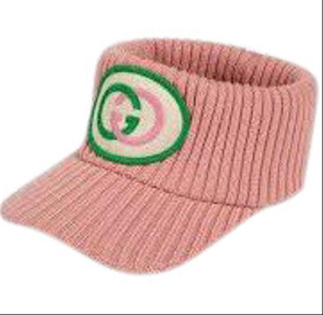 Item - Pink Knitted Wool Embroidered Patch Head Band Visor Hat