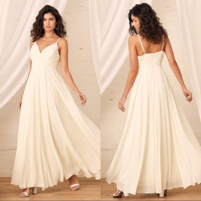 Item - White Poly All About Love Cream Maxi Feminine Wedding Dress Size 4 (S)