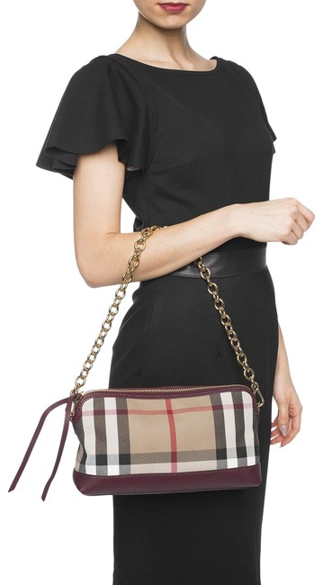 Item - Crossbody House Check Derby Abingdon Mahogany Red Leather Clutch