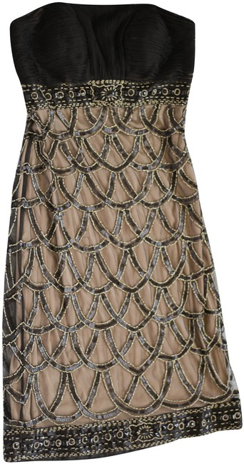 Item - Black and Gold Strapless Beaded Mid-length Cocktail Dress Size 0 (XS)