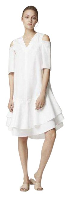 Item - White Cotton Shirting Double Ruffle Lace Cold Shoulder Mid-length Formal Dress Size 4 (S)