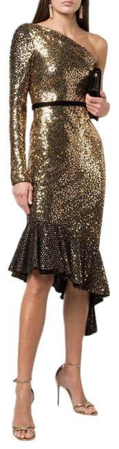 Item - Gold Sequined Ruffle Asymmetrical One Shoulder Short Cocktail Dress Size 0 (XS)
