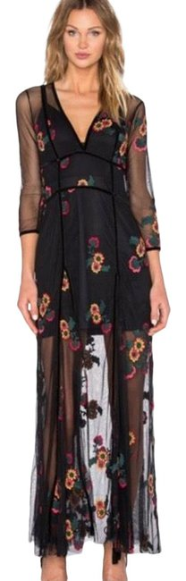 Item - Black Elenora Embroidered Maxi Long Formal Dress Size 4 (S)