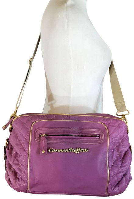 Item - Duffle Quilted Style Purple Leather Cross Body Bag