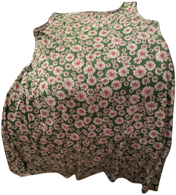 Item - Pink and Green Floral Print Mid-length Short Casual Dress Size 8 (M)