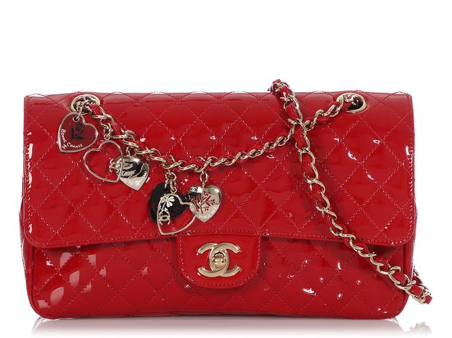 Item - Medium Quilted Valentine Charms Flap Red Patent Leather Cross Body Bag