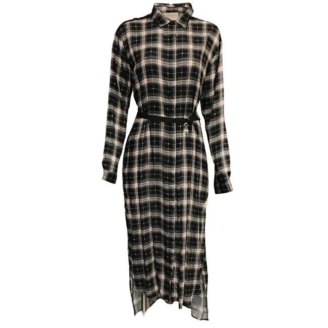 Item - Black Multi Plaid with Rhinestone Duster Style Casual Maxi Dress Size 4 (S)