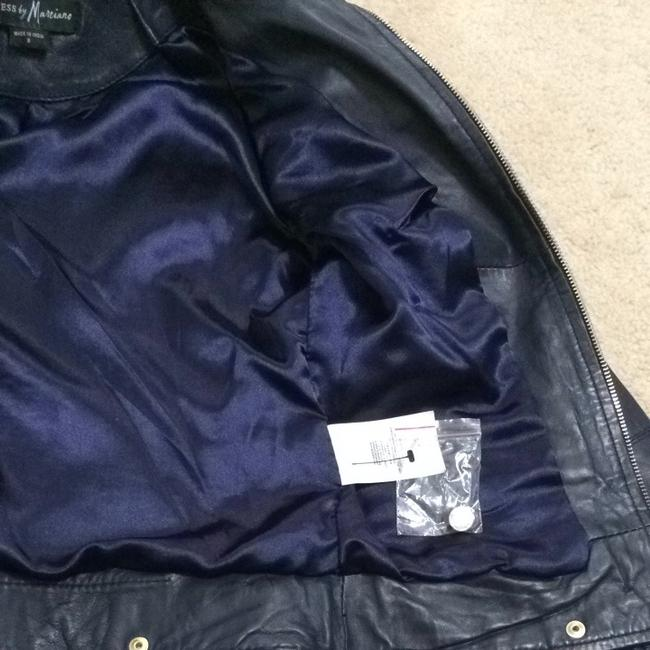 Guess Navy Leather Jacket Size 4 (S) Guess Navy Leather Jacket Size 4 (S) Image 3