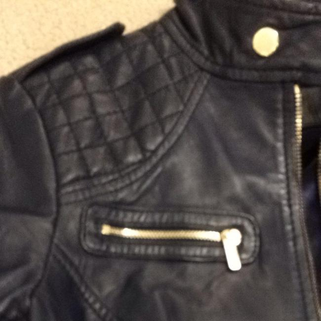 Guess Navy Leather Jacket Size 4 (S) Guess Navy Leather Jacket Size 4 (S) Image 4