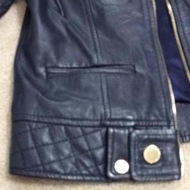 Guess Navy Leather Jacket Size 4 (S) Guess Navy Leather Jacket Size 4 (S) Image 5