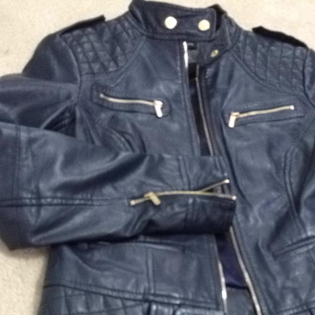 Guess Navy Leather Jacket Size 4 (S) Guess Navy Leather Jacket Size 4 (S) Image 6