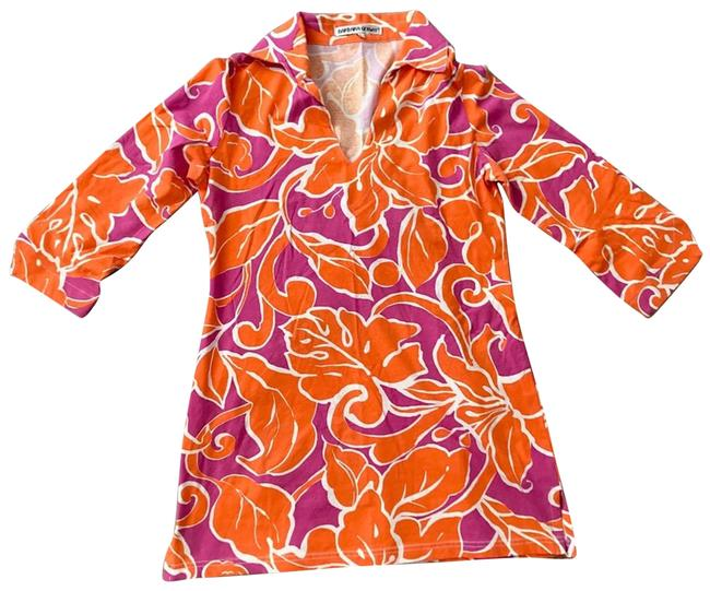 Item - Orange Red Bridle Print Tunic Small Short Casual Dress Size 4 (S)