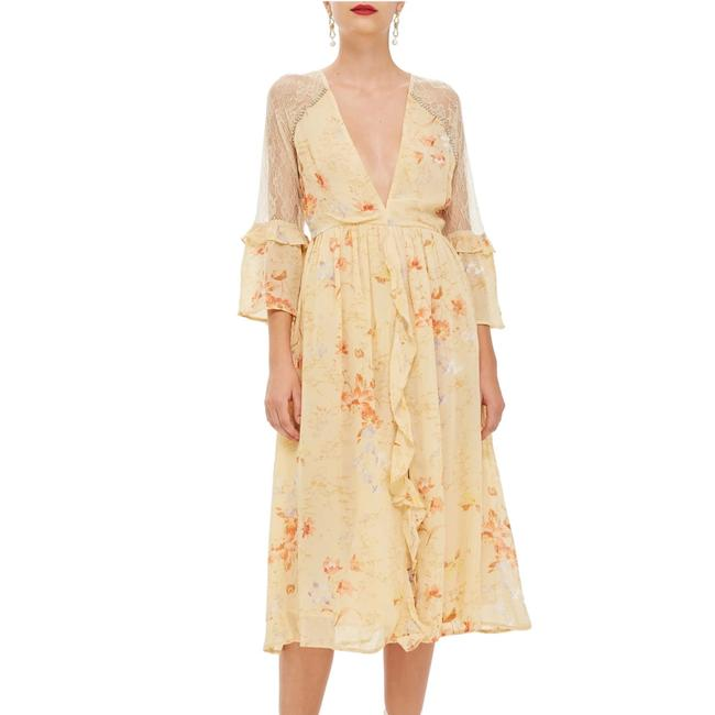 Item - Yellow Multi New Floral Print Lace Mid-length Cocktail Dress Size 6 (S)