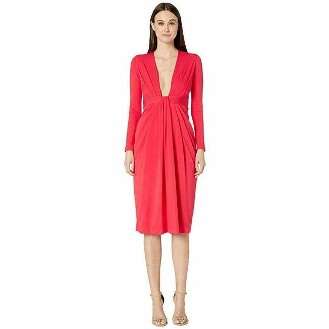 Item - Red Plunging Watermelon Long Sleeve Cocktail Dress Size 6 (S)
