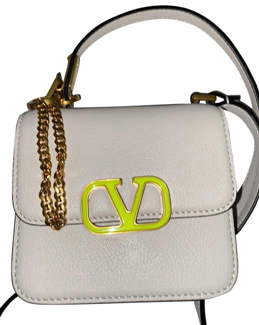 Item - Micro White and Green Leather Messenger Bag