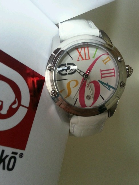 Marc Ecko Multicolored White New Rhino By Pink Leather Band Watch Marc Ecko Multicolored White New Rhino By Pink Leather Band Watch Image 2