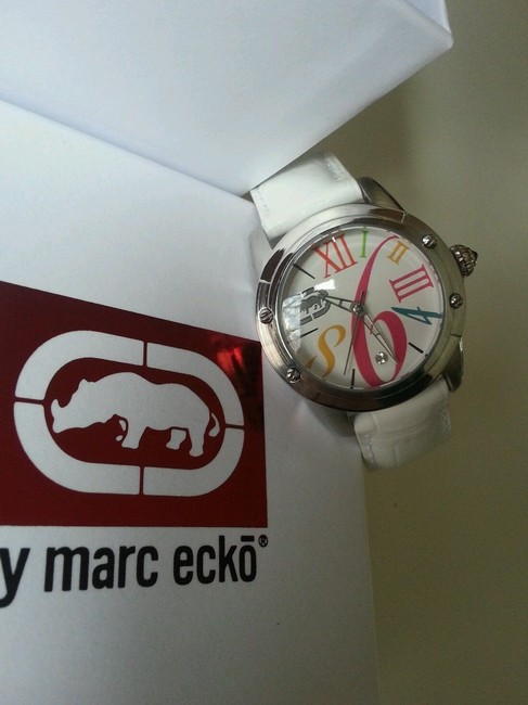 Marc Ecko Multicolored White New Rhino By Pink Leather Band Watch Marc Ecko Multicolored White New Rhino By Pink Leather Band Watch Image 3