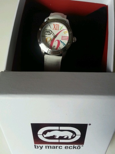Marc Ecko Rhino by Marc Ecko Pink multicolored WHITE Leather band Watch E8M013MV NEW WITH TAG