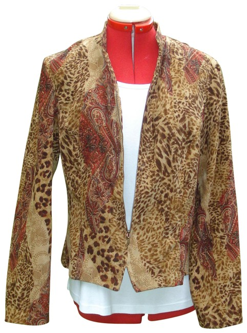 Item - Brown Leopard / Paisley Fitted Blazer Size 12 (L)