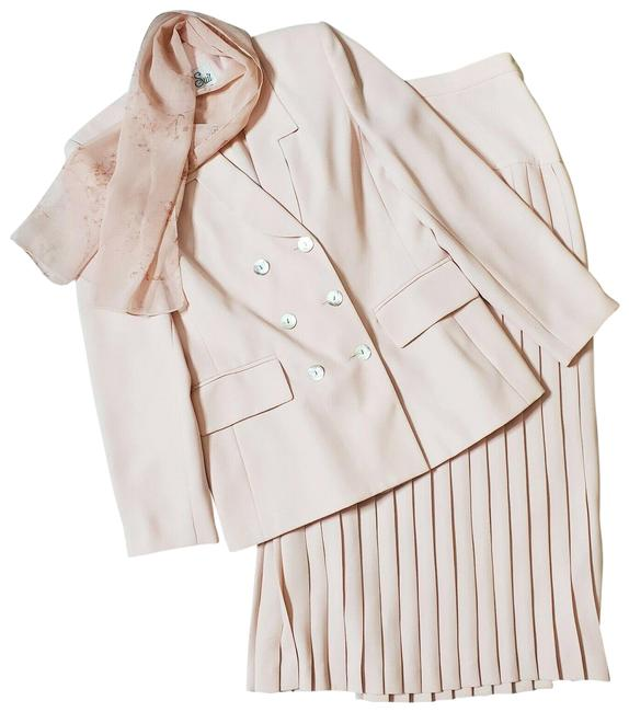 Item - Pink Vintage 1990s Pleated Double Breasted Jacket Set Skirt Suit Size 6 (S)