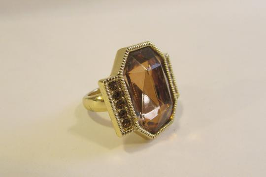 Other Big & Bold Citrine Color Goldtone Crystal Ring Size 10