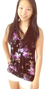 Papaya Floral Patterened Top Black and Purple