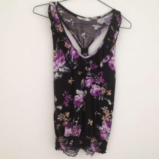 Papaya Floral Patterened Casual Summer Spandex Rayon Flowers Top Black and Purple
