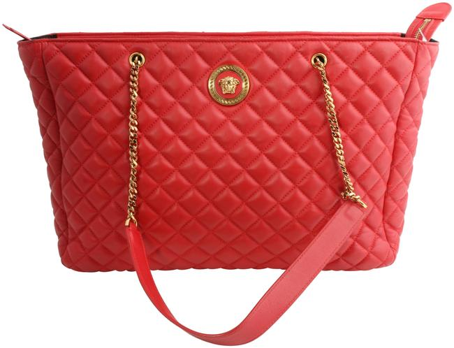 Item - Bag Medusa Quilted Red Leather Tote