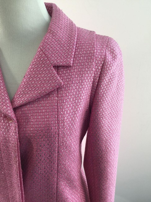 Chanel Metallic Blazer Wool Pink Jacket