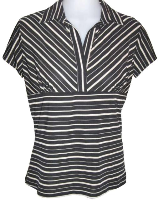 JTB Top Black & Beige stripes