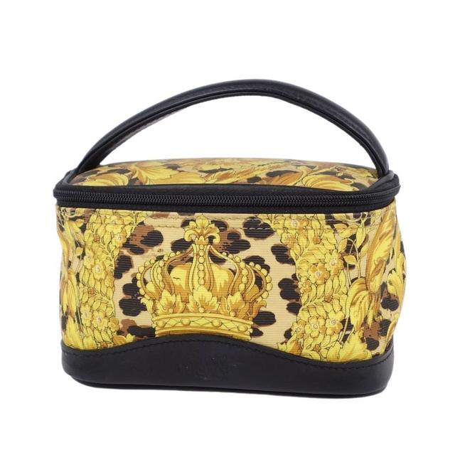 Item - Gianni Gianni Medusa Crown Vanity Pouch Cosmetic Ladies / Black / Gold Pvc / Leather Clutch